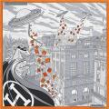 """HERMES エルメス カレ45 ガヴロッシュ スカーフ """"SPACE SHOPPING AU FAUBOURG"""" グリスX黒Xオレンジ シルク100% 新品"""