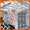 """HERMES エルメス スカーフ カレ90 """"フォーヴルでのスペースショッピング"""" グリスX黒Xオレンジ シルク100% 新品"""