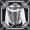"""HERMES エルメス スカーフ カレ90 """"ブランデンブルグ飾り"""" マリンX白 シルク100% 新品未使用"""
