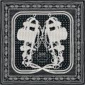 """HERMES エルメス バンダナ カレ55 """"ブリッド・ドゥ・ガラ"""" 黒(ブラック)X白(ホワイト)"""