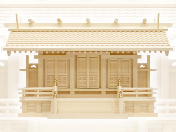 シンプルで豪華な瓦屋根の神棚・白山瓦屋根通し三社・大(木曽ひのき)