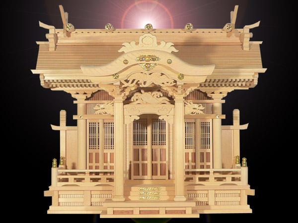 大きなお札の入る高級神棚切妻三社高級神殿【白鳳】背高タイプ