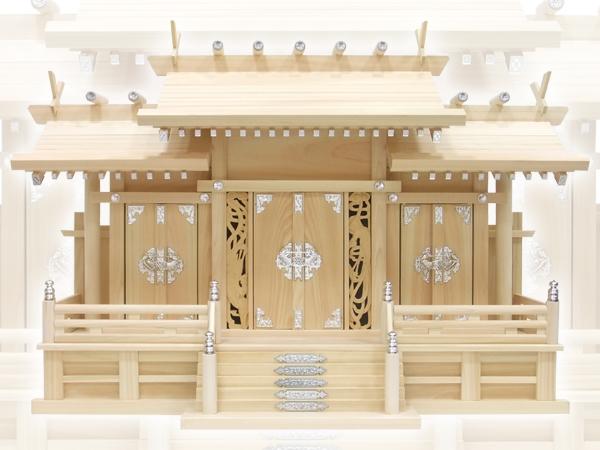 上品で豪華な神棚【神棚】鳳凰三社シルバー金具・大(ひのき)
