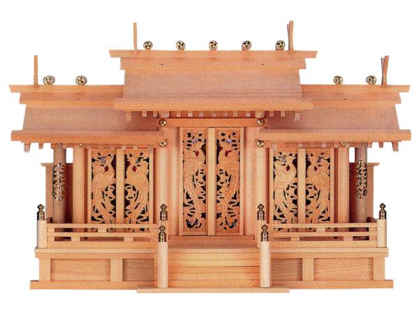 鳳翔彫刻入三社御簾(みす)付(木曽ひのき)