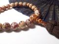 超珍しい全宗派用・片手念珠、【男性用数珠】白虎瑪瑙(メノウ)念珠