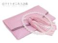 【女性用数珠】ホワイトオニキス共仕立・正絹房(ピンク)・数珠袋付