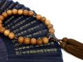 全宗派対応略式念珠【男性用片手数珠】屋久杉念珠・茶水晶仕立正絹房