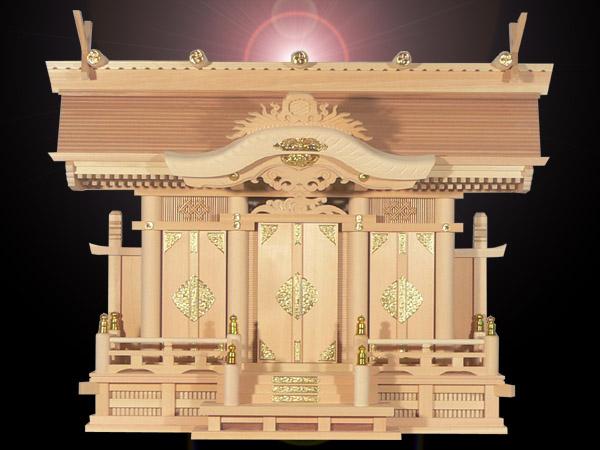 大きなお札の入る高級神棚切妻三社高級神殿【天空】背高タイプ