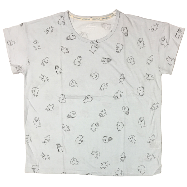 ヨッシースタンプ 半袖総柄プリントTシャツ(うさぎさん・くまさん・ぬこさま) 8283-1716