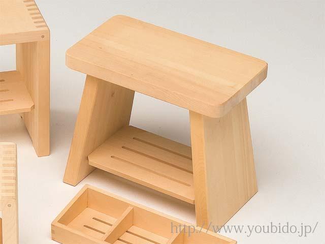 ヒバ風呂椅子(大)棚付