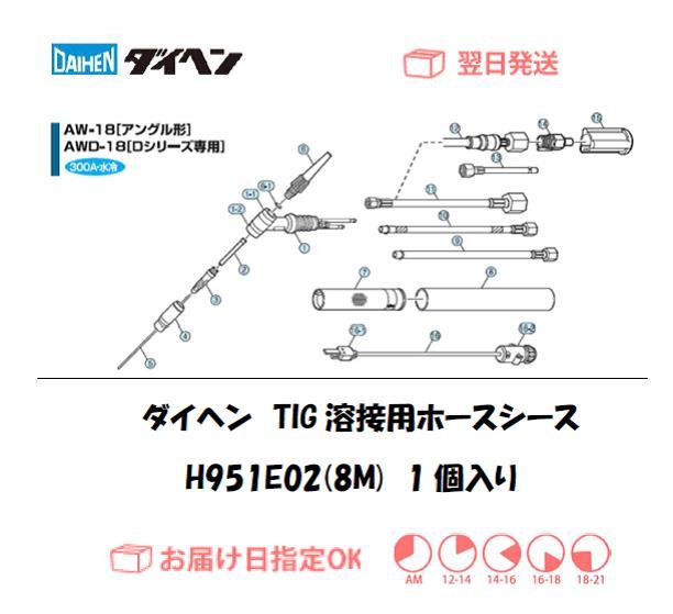 ダイヘン TIG溶接用ホースシース(8M) H951E02(AW-18,AWD-18用)