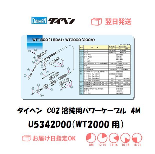 ダイヘン CO2溶接用パワーケーブル(WT2000-MD用) U5342D00 4M
