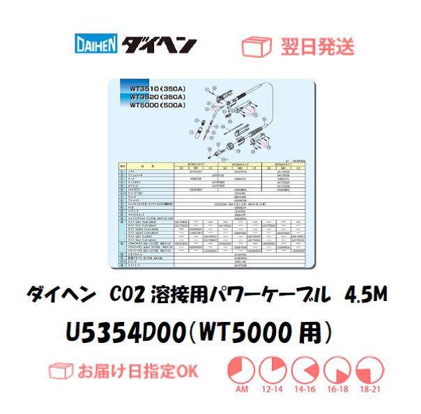 ダイヘン CO2溶接用パワーケーブル(WT5000-MD用) U5354D00 4.5M