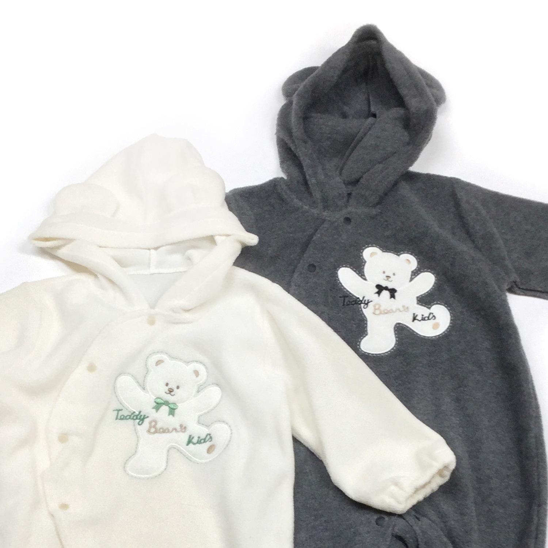 【送料無料】足つきカバーオール 赤ちゃん 秋冬 フリース くま 着ぐるみ/8518420