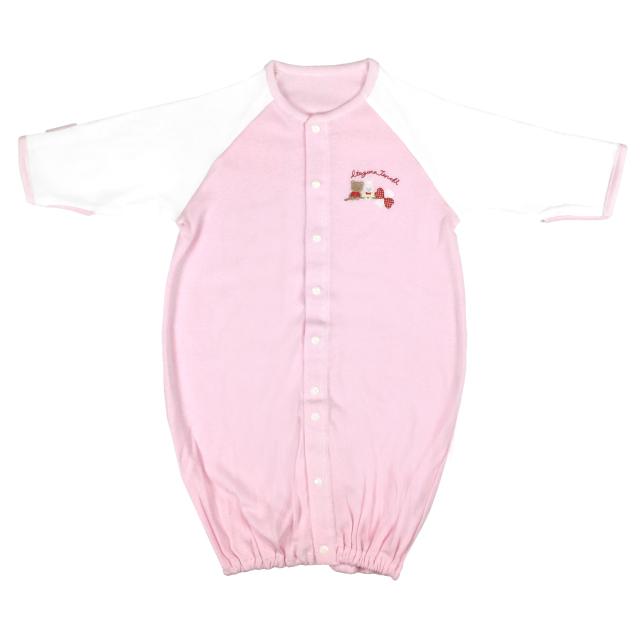 【ネコポス送料無料】ミトン付2WAYドレスオール 新生児 カバーオール/3500