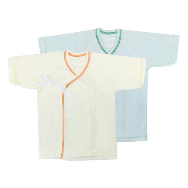 【ネコポス送料無料】産婦人科仕様の短肌着2枚セット 新生児 50-60cm/NS117