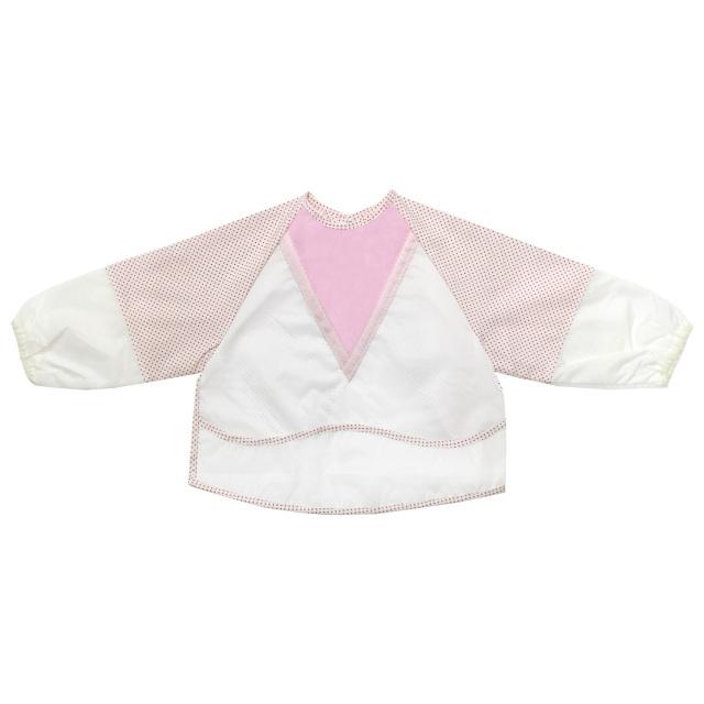 【送料無料】袖付き食事用エプロン ポケット付き 長袖 1-2歳 保育園/YU6001