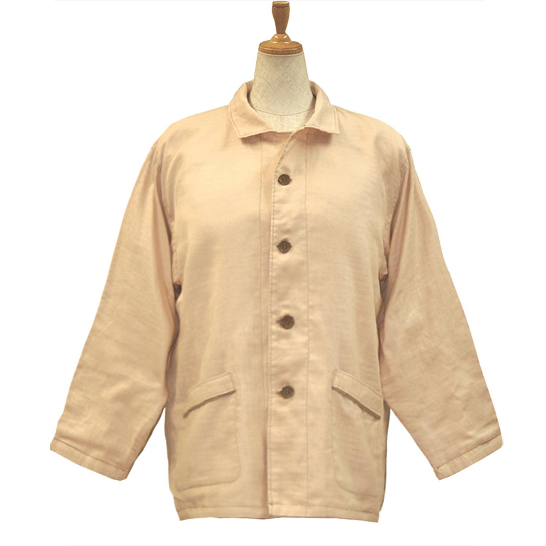 【送料無料】ANGEL(エンゼル)綿100%[やさしいパジャマ2 上着のみ(紳士用) S/M/L/LLサイズ/MST-510A] 袖口オープン 大きめポケット付きねまき シニア