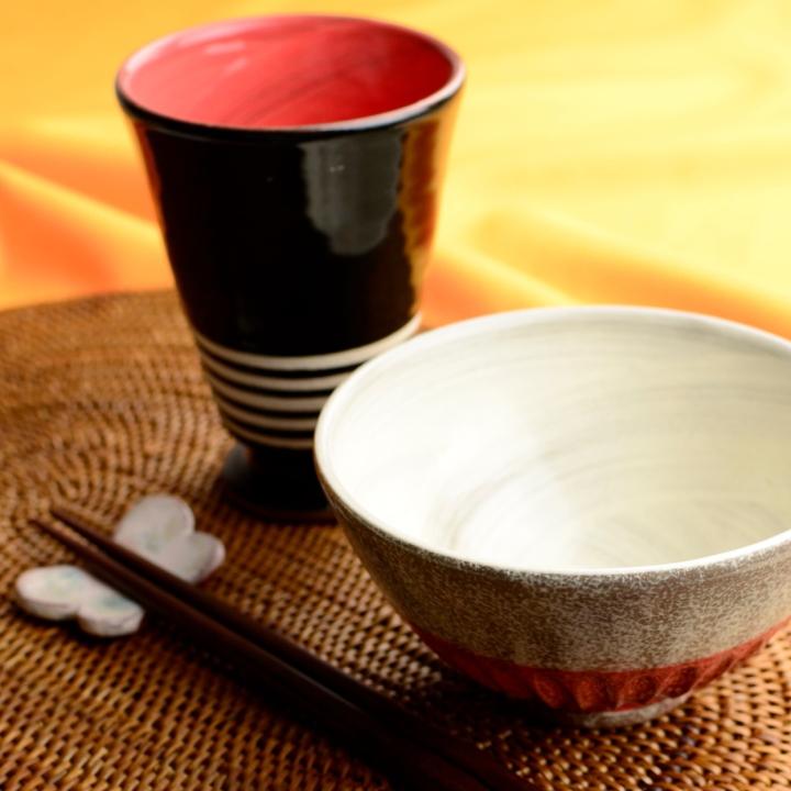 カップ&茶碗セット(ピンク)_丸八窯 清水義久 作