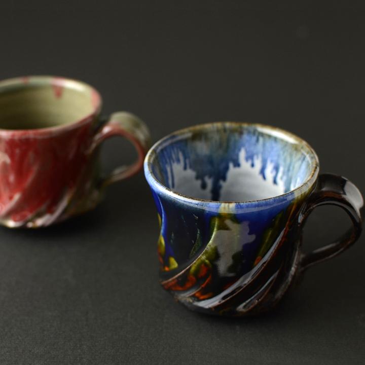 マグカップ2個セット(瑠璃釉1・辰砂1)_省三窯 市野秀作 作