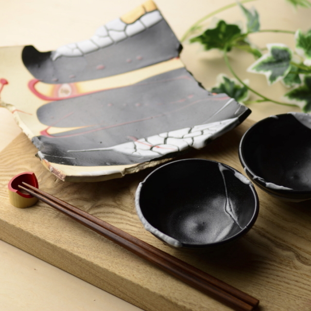 大皿&小鉢2個セット_黒釉_丹文窯 大西雅文 作