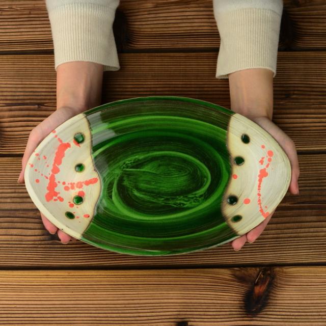 丸八窯_緑釉オーバルプレート