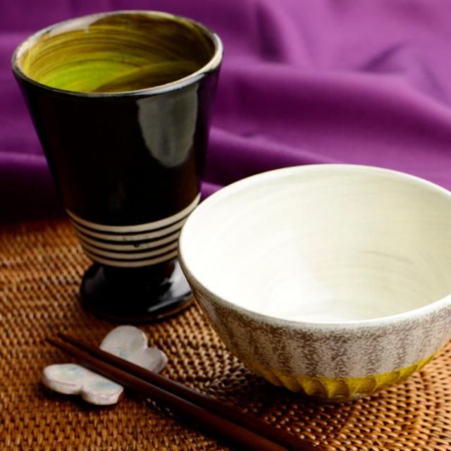 カップ&茶碗セット(黄色)_丸八窯 清水義久 作