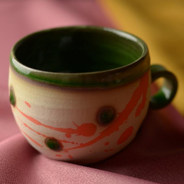 コーヒーカップ(緑釉)_丸八窯 清水義久 作
