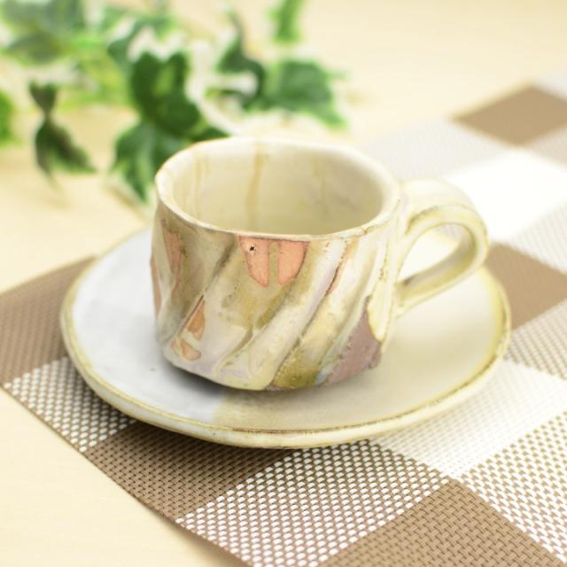 コーヒーカップ・ソーサー(白釉)_省三窯 市野秀作 作
