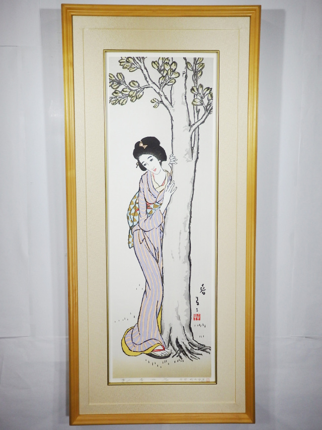 木版画「春」