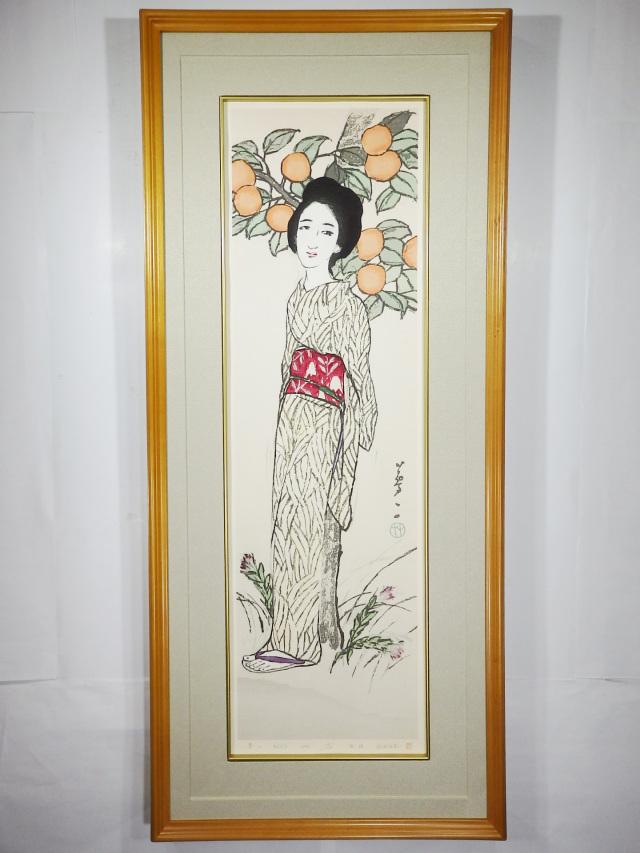 木版画「秋(りんどう)」