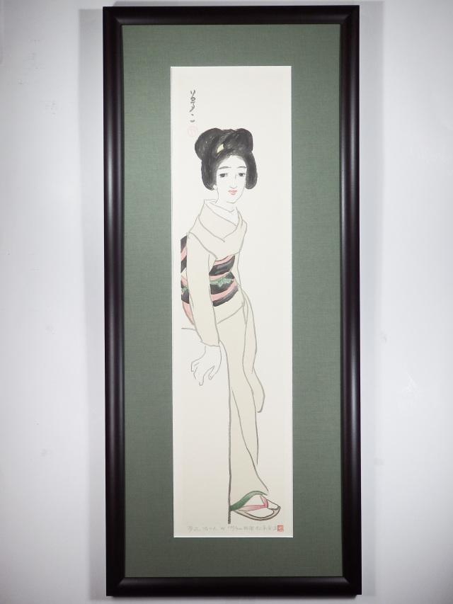 木版画「待つ人」