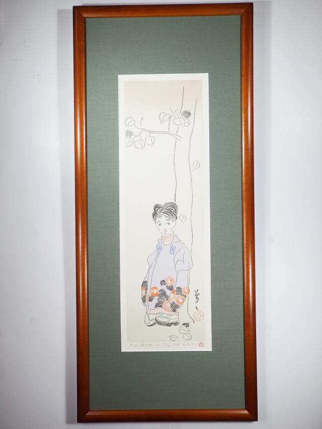 木版画「椿少女」
