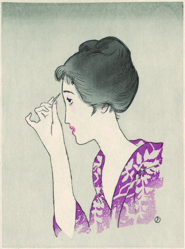木版画「眉をかく女」