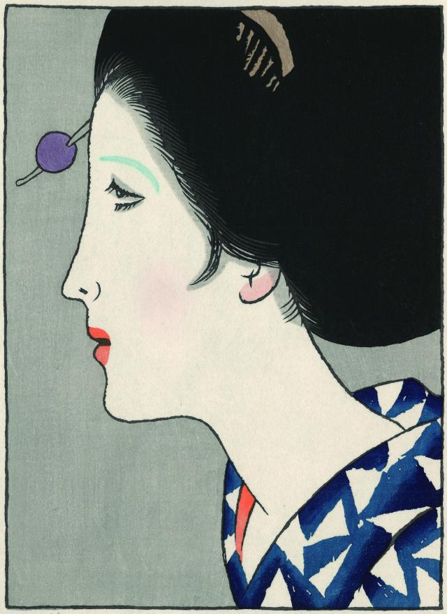 木版画「ゆかたの女」