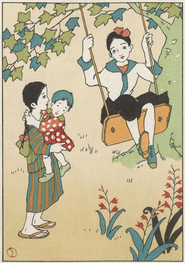 木版画「ブランコ」