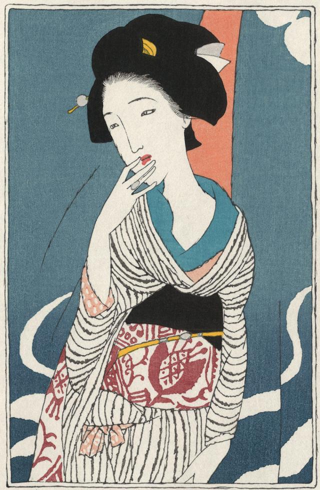 木版画「祇園夜話」