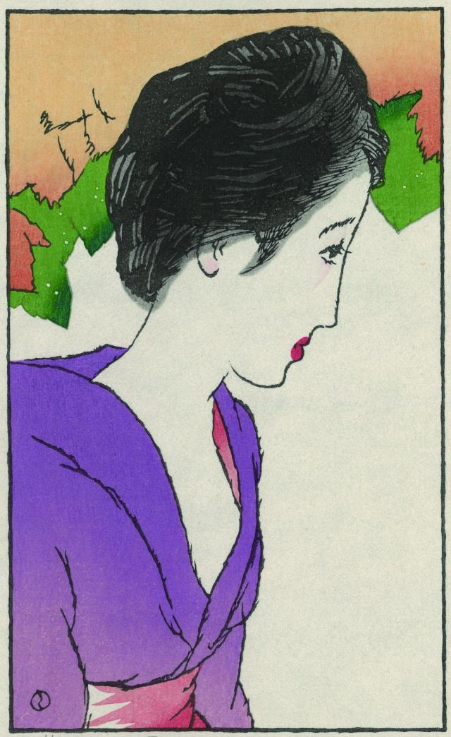 木版画「晩夏のひと」