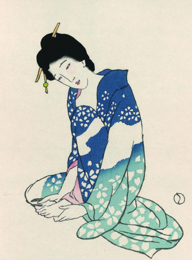 木版画「爪をきる女」