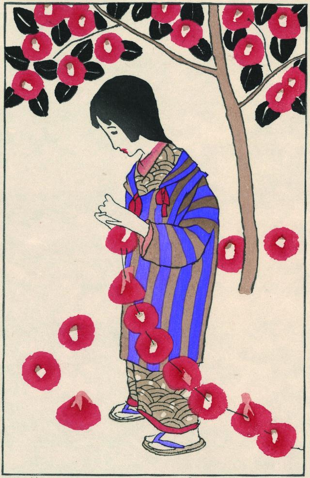 木版画「つばき」
