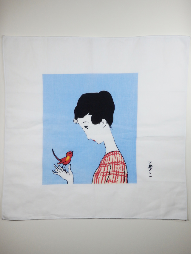 ガーゼハンカチ 赤い鳥