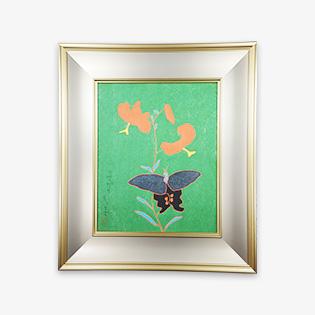 「ゆりと蝶」木版画