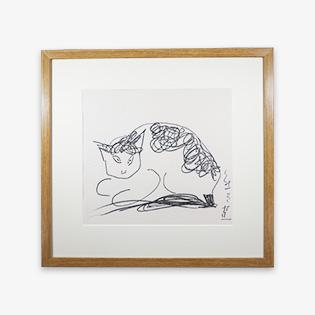 「猫」木版画