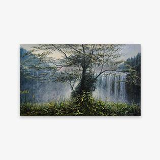 「仙洞の滝」油彩画