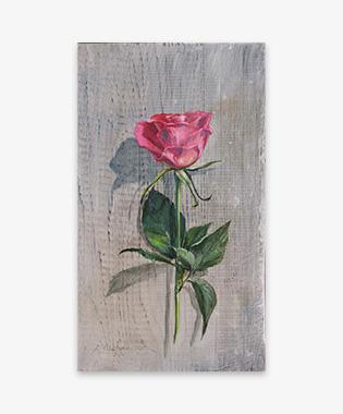 「バラ一輪」油彩画