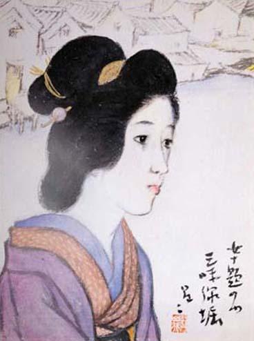 複製 女十題(三味線堀)-3×3額入り