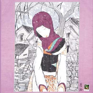 ハンカチ(雪の夜の伝説 紫)