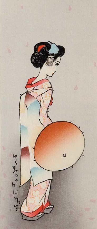 木版画/ゆく春の日に(額入り)