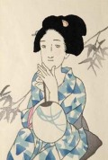 木版画/夕涼み(八つ額入り)