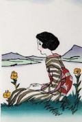 木版画/月見草(八つ額入り)